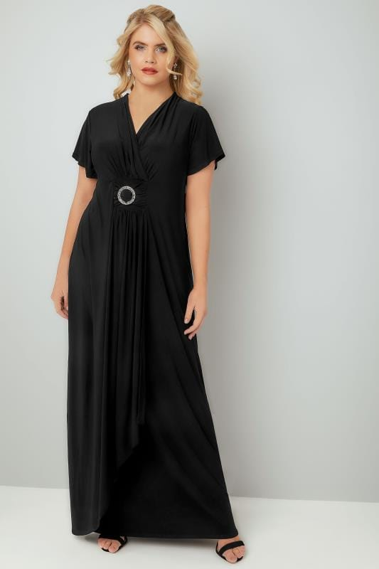 Plus Size Maxi Dresses YOURS LONDON Black Slinky Drape Front Maxi Dress With Embellished Ring Detail