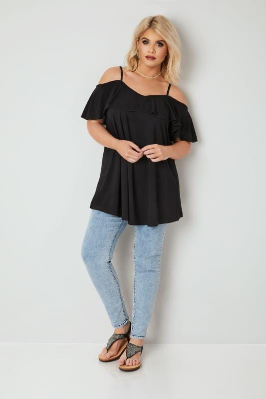 Black Slinky Jersey Frill Cold Shoulder Top