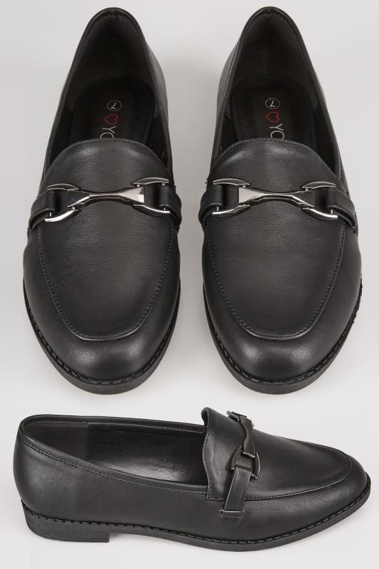Black Slip On Loafers With Comfort Insole In TRUE EEE Fit