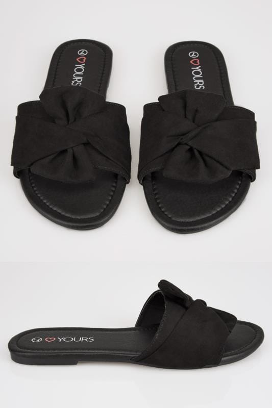 Wide Fit Flat Shoes Black Slip On Sandals With Twist Bow Strap In True EEE Fit