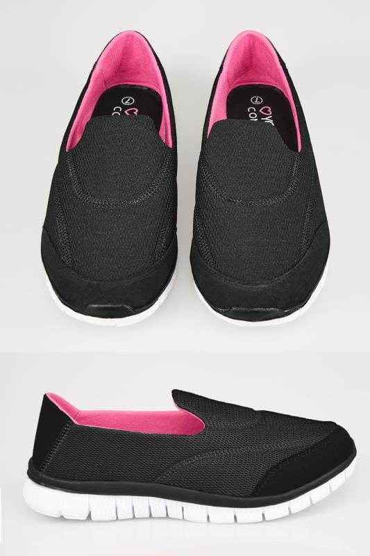 Wide Fit Trainers Black Slip On Trainers With Comfort Insole In TRUE EEE Fit