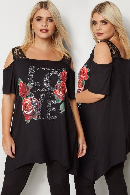Plus Size Bardot & Cold Shoulder Tops Black Slogan Lace Cold Shoulder Top