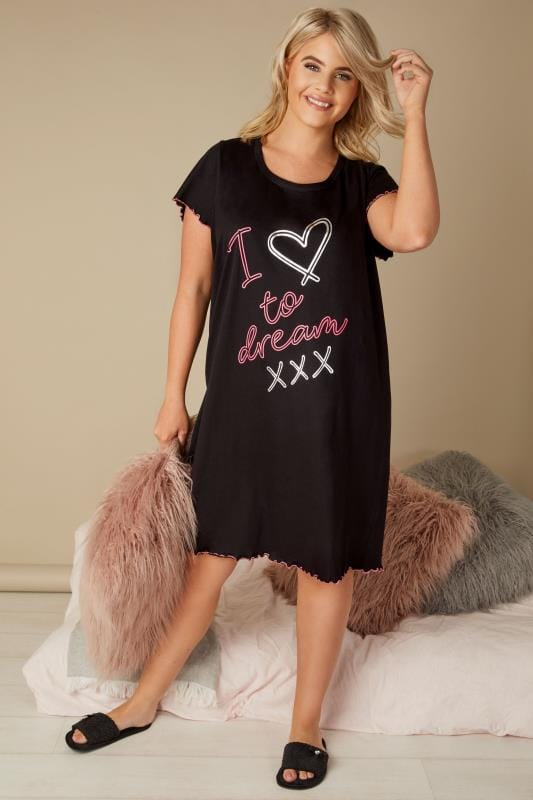 Black Slogan Print Nightdress
