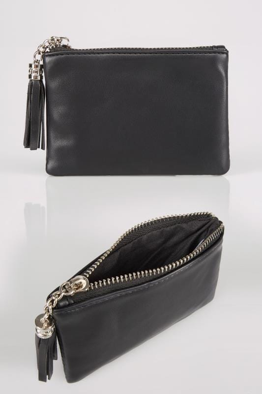 Black Small Zip Purse With Tassel Charm
