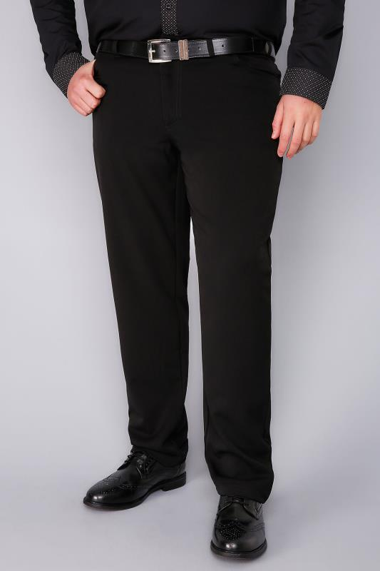 Smart Trousers Black Smart Straight Leg Stretch Trousers With 5 Pockets 100981