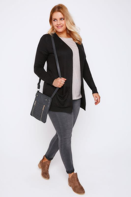 Black Soft Knit Cardigan With Slouch Pockets