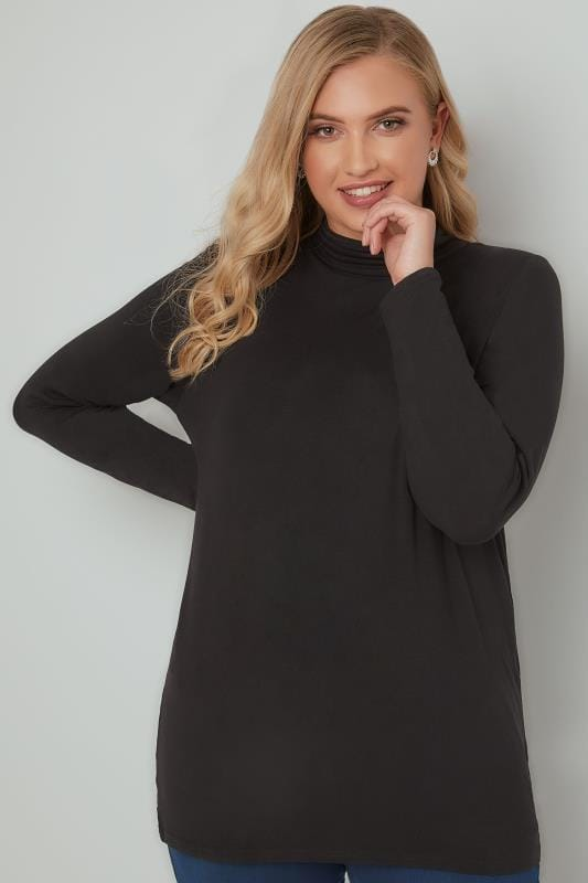 ad3cd7652 Black Soft Touch Turtle Neck Jersey Top With Long Sleeves, Plus Size ...