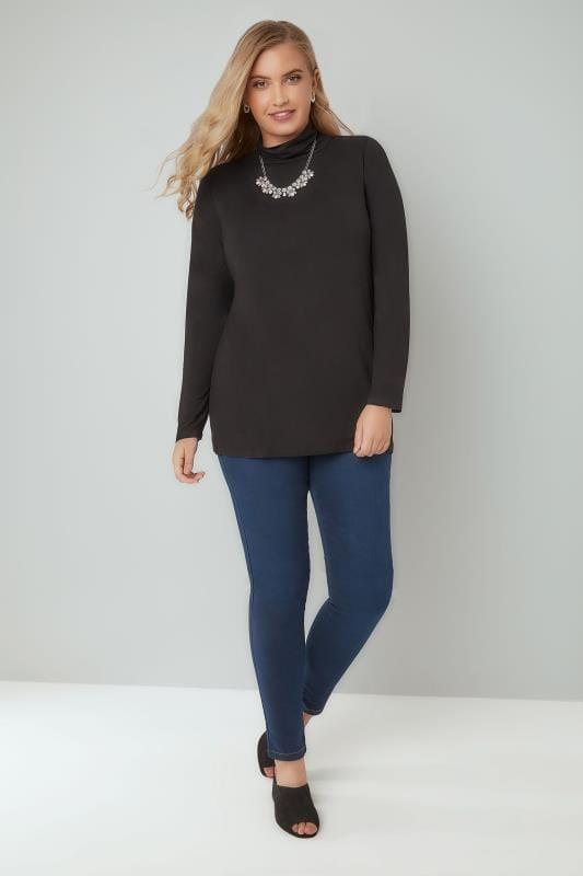 Black Soft Touch Turtle Neck Jersey Top With Long Sleeves