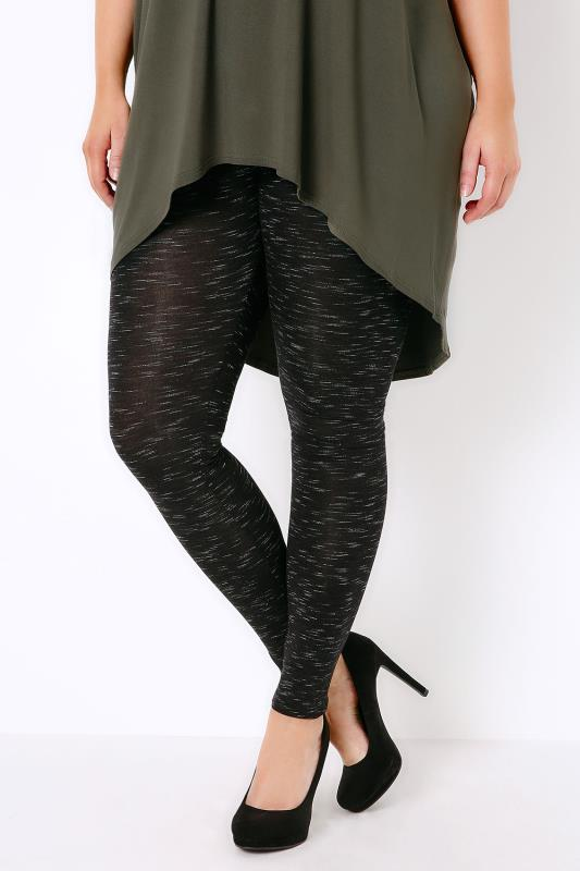 Black Space Dye Stretch Leggings