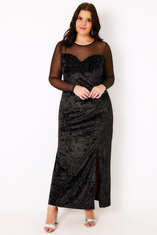 Black Sparkle Velvet Maxi Dress With Mesh Sweetheart Neckline