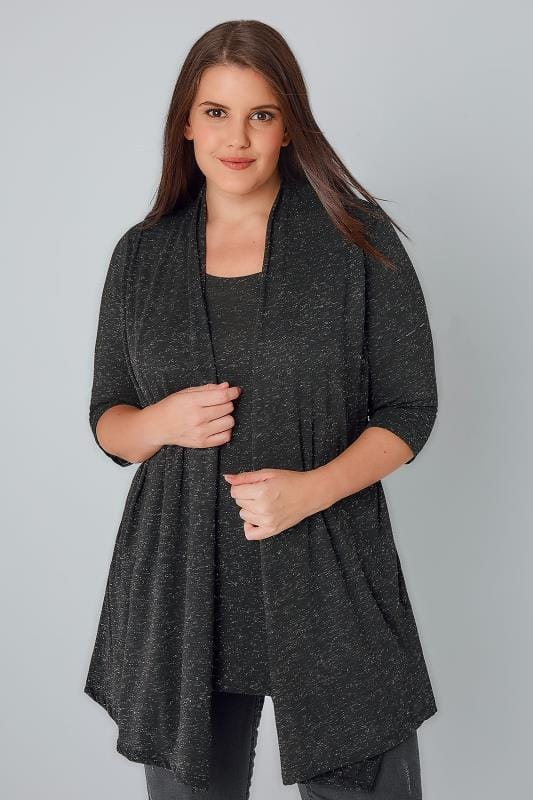 2 In 1 Tops YOURS LONDON Black Sparkly 2 In 1 Top & Cardigan 156181