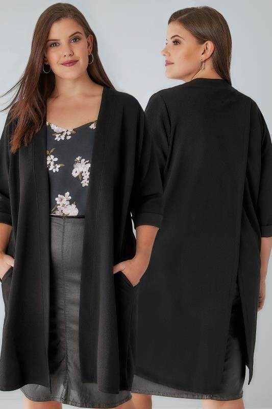 Black Split Back Longline Lightweight Duster Jacket