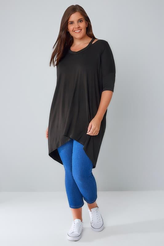 Black Split Neck Top With Extreme Dipped Hem