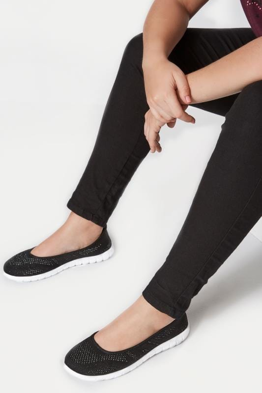 Wide Fit Flat Shoes Black Sporty Metallic Pumps In EEE Fit