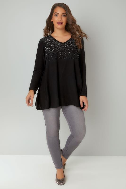 Black Star Studded Swing Top With V-Neckline