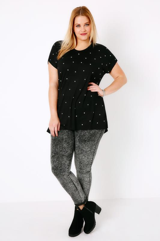Black & Silver Star Studded T-Shirt With Curved Hem