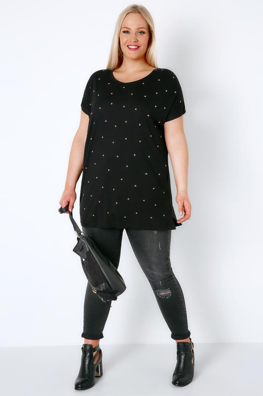 Black & Gold Star Studded T-Shirt With Curved Hem