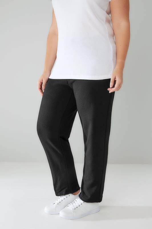 Plus Size Joggers Black Straight Leg Joggers