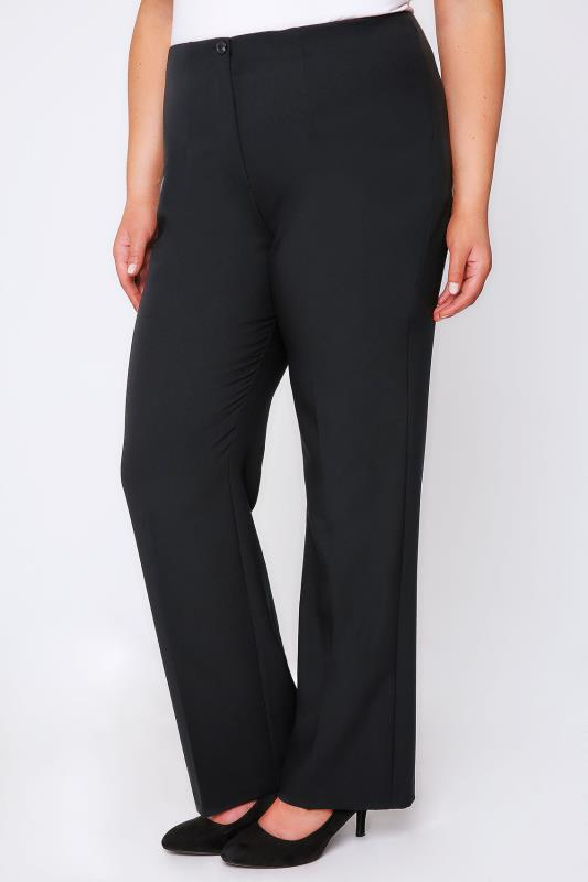 Pantalons droits Black Straight Leg Trousers With Elasticated Waist & Invisible Zip 054127