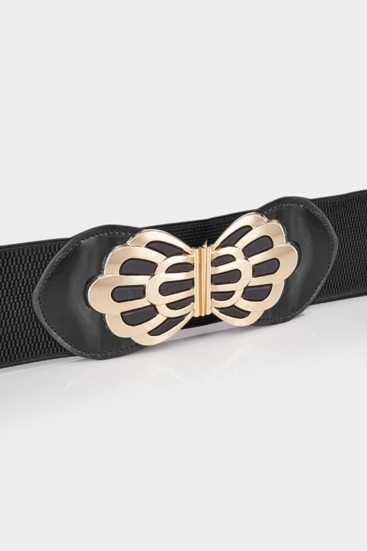 Black Stretch Belt With Floral Clasp