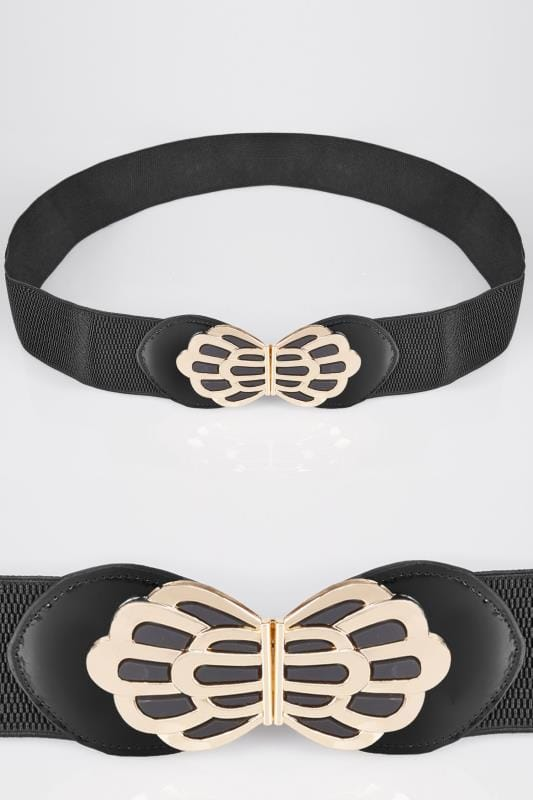 Belts Black Stretch Belt With Floral Clasp 152260