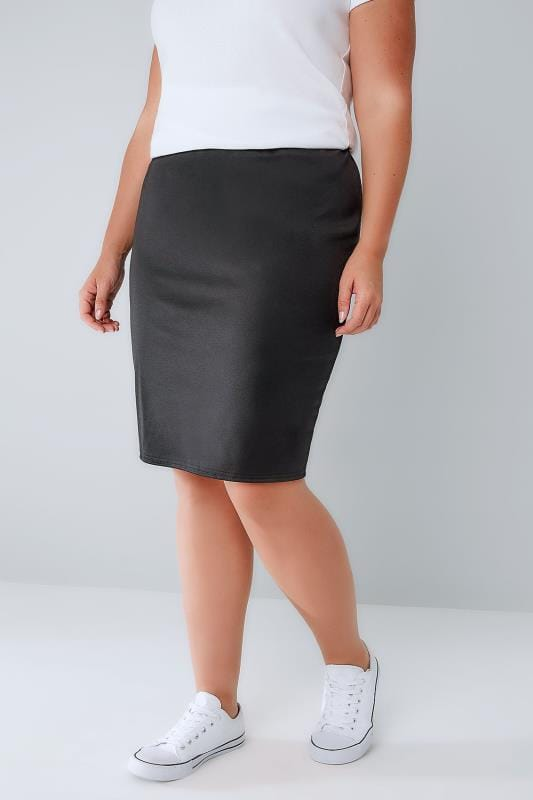 Plus Size Pencil Skirts Black Stretch Jersey Short Pencil Skirt With Elasticated Waistband