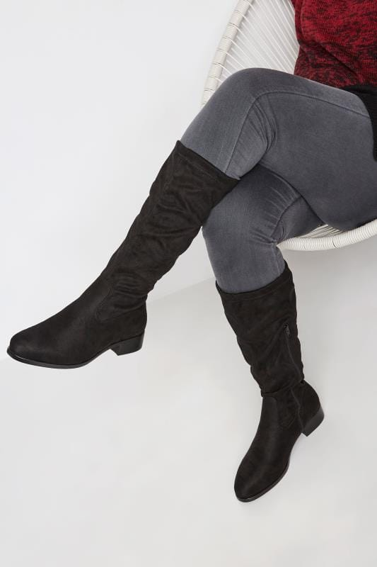 Wide Fit Boots Black Stretch Knee High Boot In EEE Fit