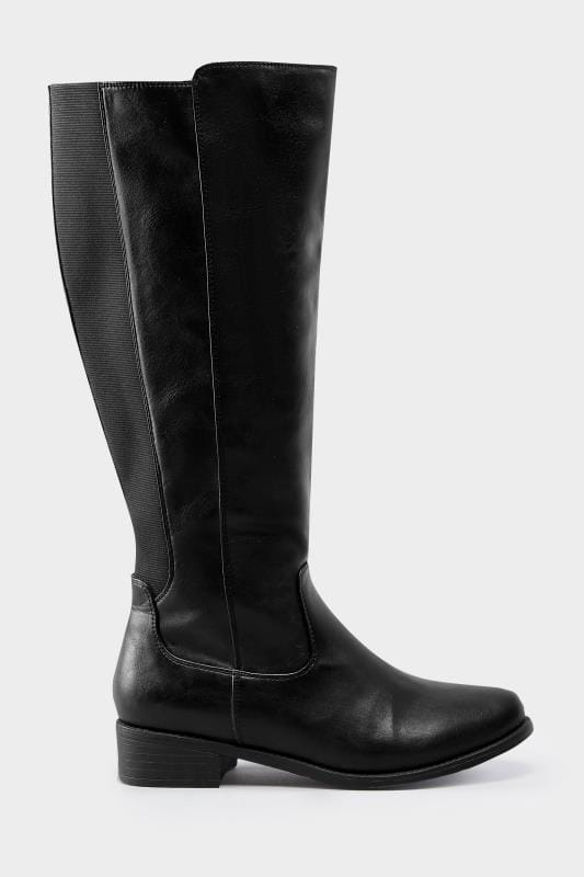 Wide Fit Boots Black Stretch Knee High Rider Boots In EEE Fit
