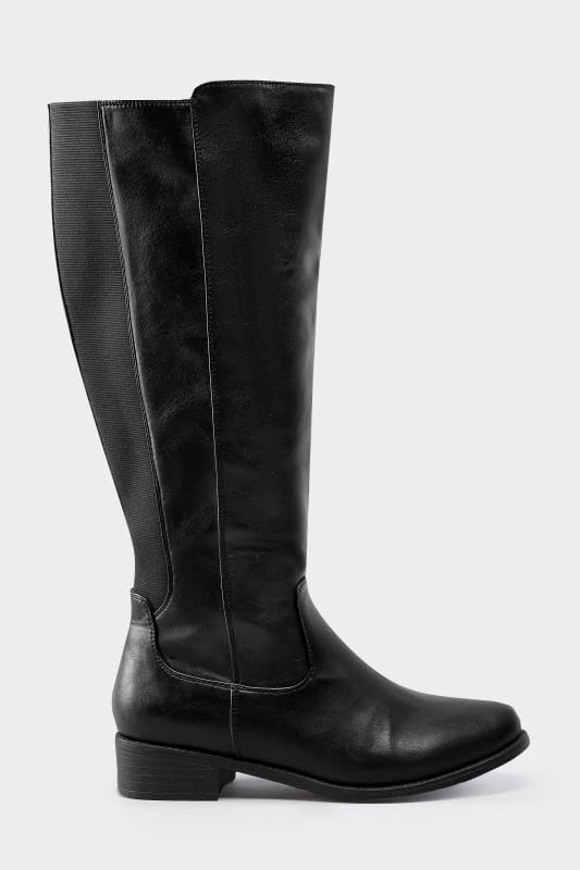 945b1c1b892 Wide Fit Boots Black Stretch Knee High Rider Boots In EEE Fit