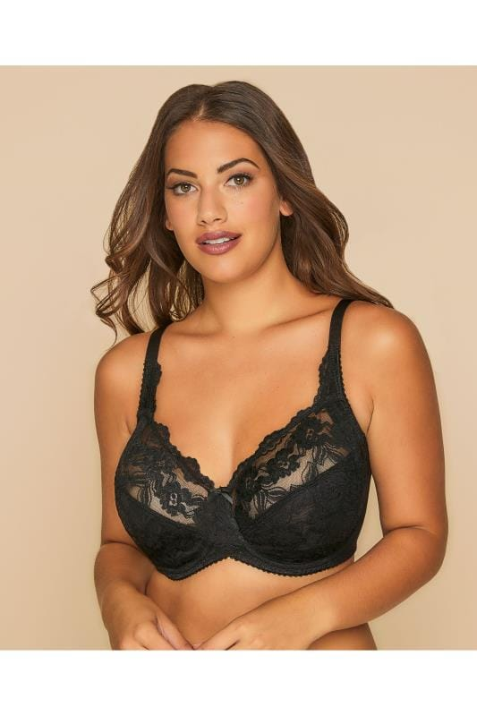 Plus Size Plus Size Wired Bras Black Stretch Lace Non-Padded Underwired Bra
