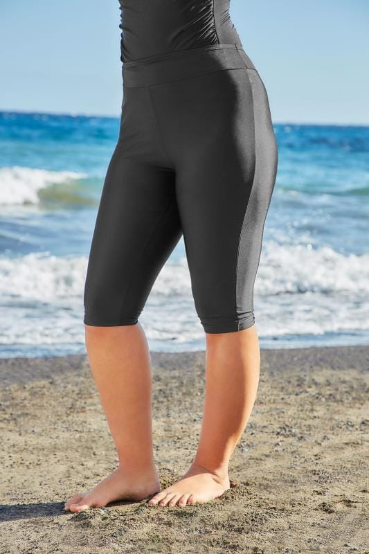 Plus Size Swim Shorts Black Stretch Swim Shorts