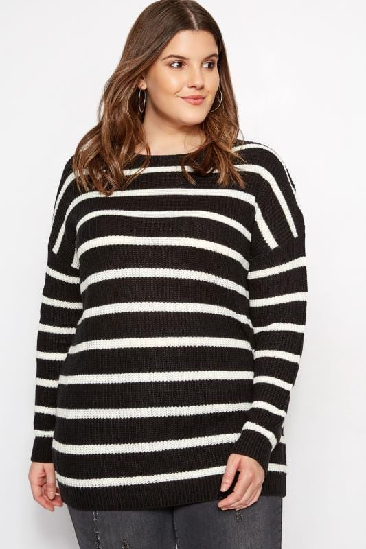 Plus Size Sweaters Black Stripe Lattice Back Knitted Jumper