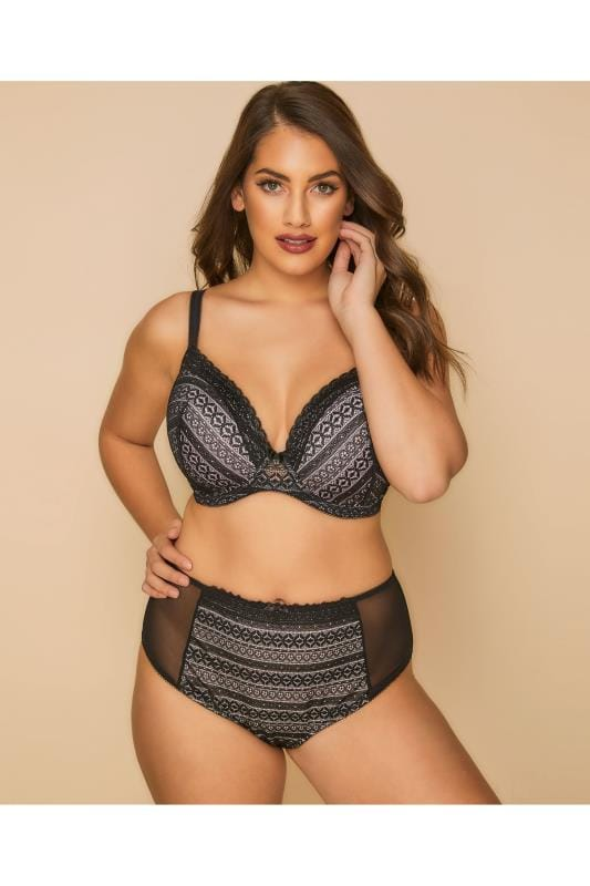 Plus Size Briefs Black Striped Geometric Lace Briefs
