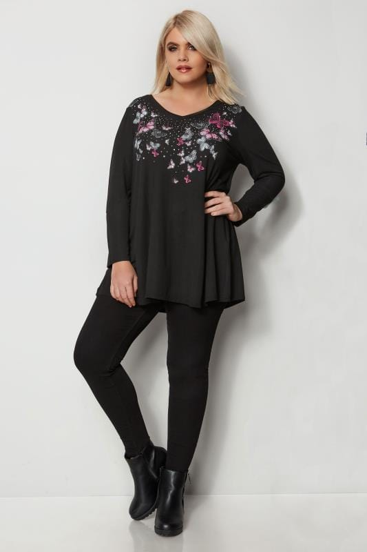 Plus Size Day Tops Black Stud Butterfly Swing Top