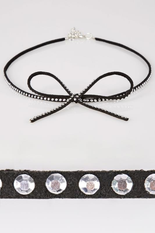 Black Studded Bow Choker