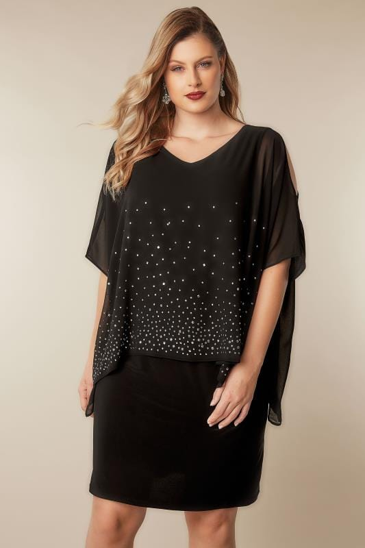 Black Studded Layered Cape Dress Plus Size 16 To 36