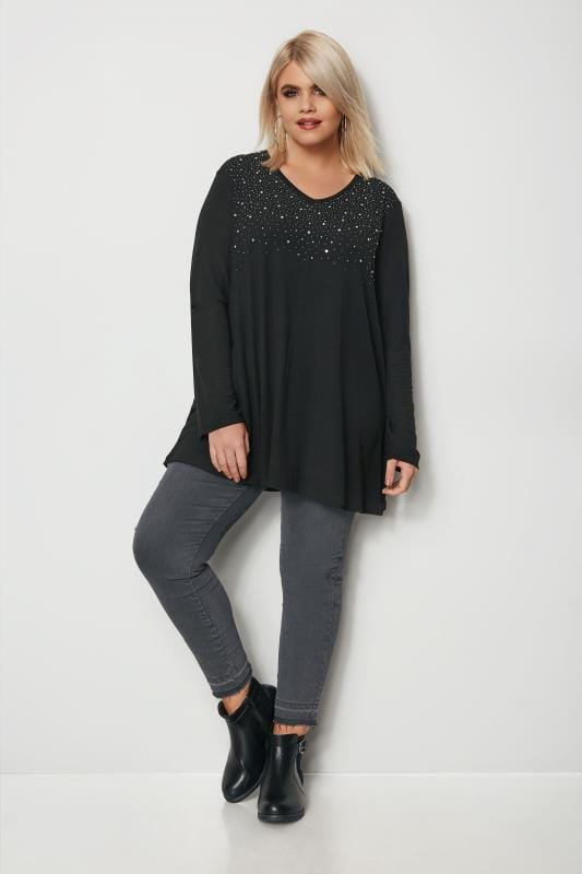 Plus Size Longline Tops Black Stud Swing Top