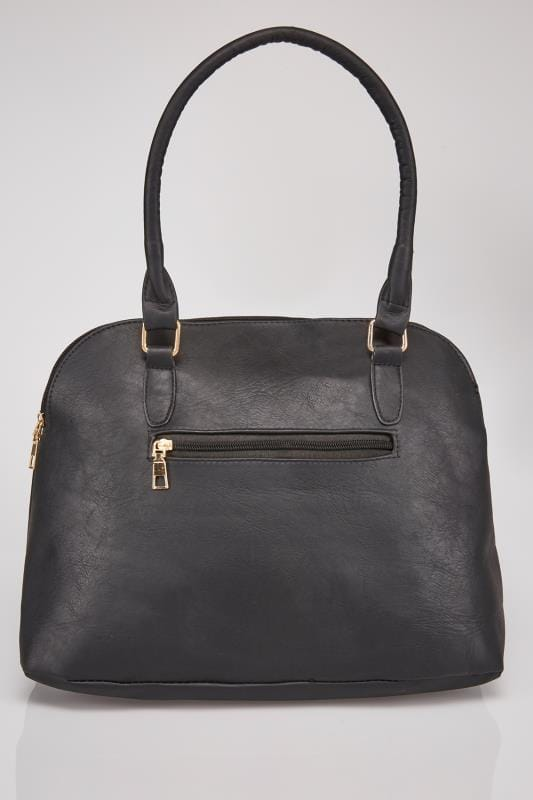 Black Studded Tote Bag With Adjustable Shoulder Strap