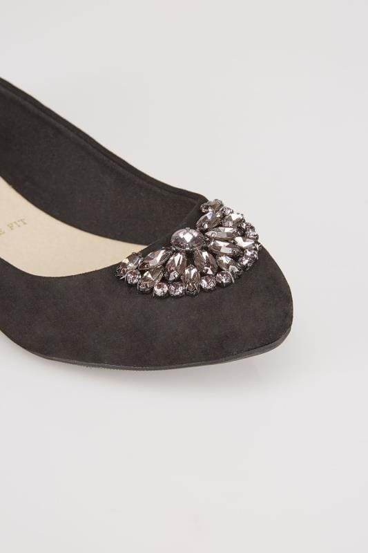 Black Suedette Ballerina Pumps With Jewel Detail In E Fit
