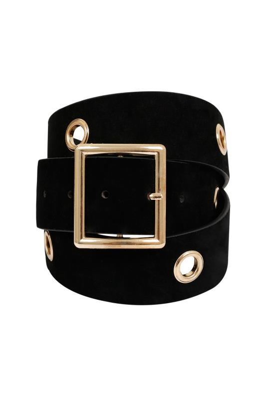 Black Suedette Belt With Gold Eyelet Detail