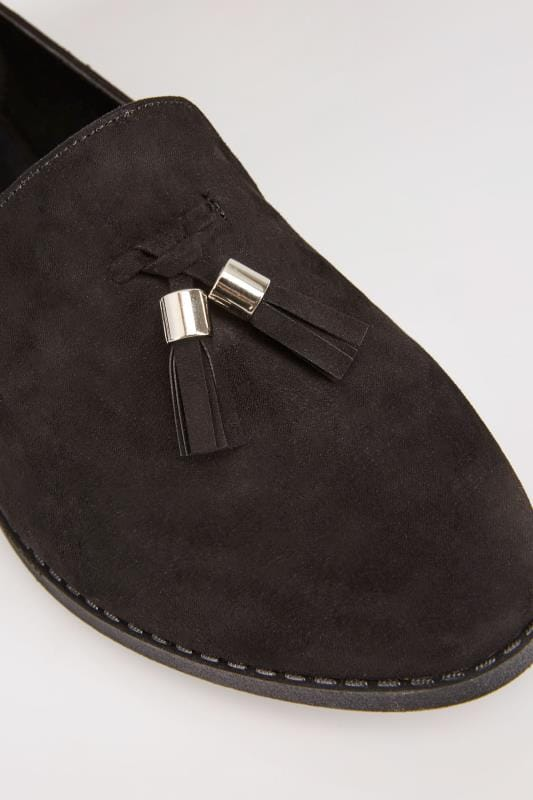 Black Faux Suede Slip On Loafers In EEE Fit