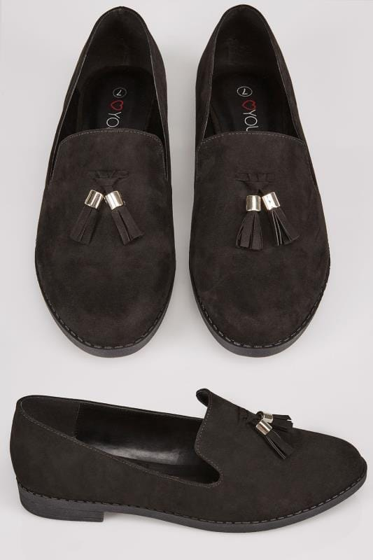 Black Suedette Slip On Loafers With Comfort Insole In TRUE EEE Fit