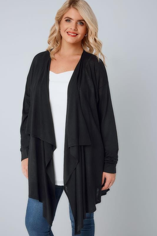 Black Super Fine Knit Edge To Edge Waterfall Cardigan