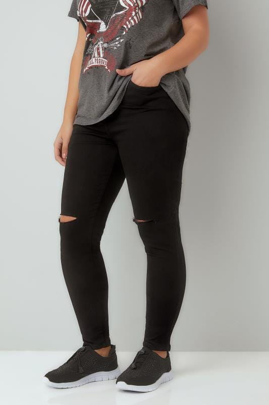 Plus Size Skinny Jeans Black Ripped Knee Skinny Stretch AVA Jeans