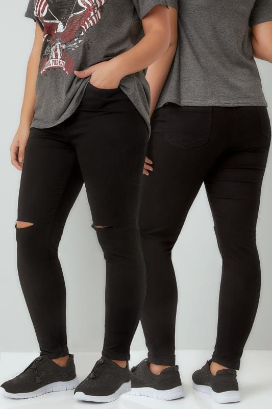 Black Super Stretch Skinny AVA Jeans With Ripped Knees