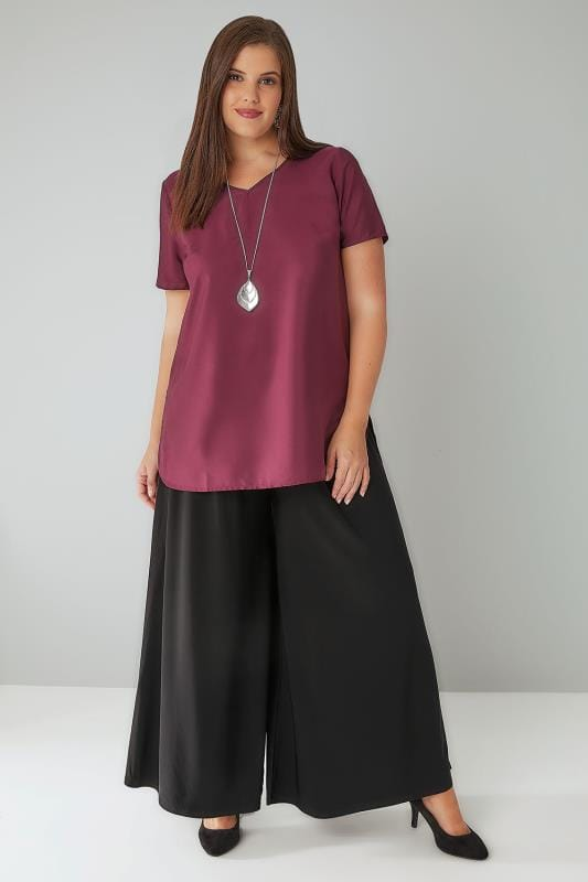 Black Super Wide Leg Jersey Palazzo Trousers, Plus Size 16 ...
