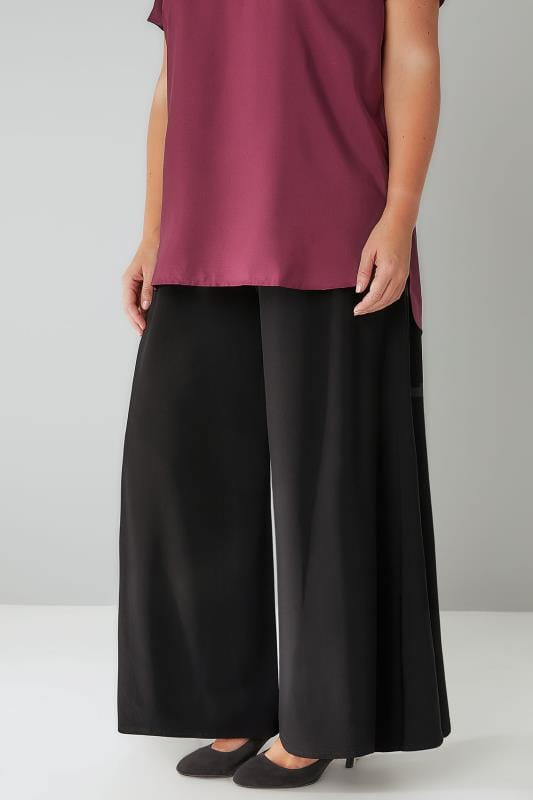 Plus Size Wide Leg & Palazzo Trousers Black Super Wide Leg Jersey Palazzo Trousers