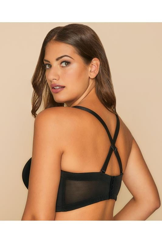 Black Superfit Multiway Bra With Diamante Heart Detail