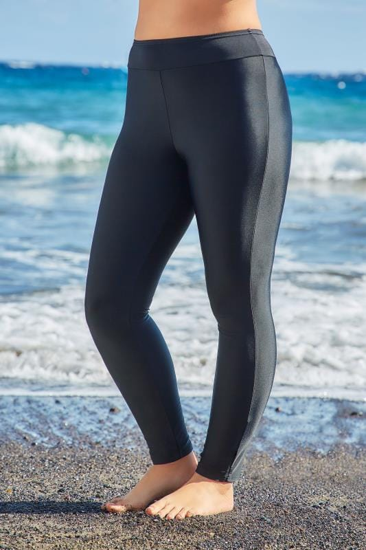 Plus Size Swim Shorts Black Swim Leggings