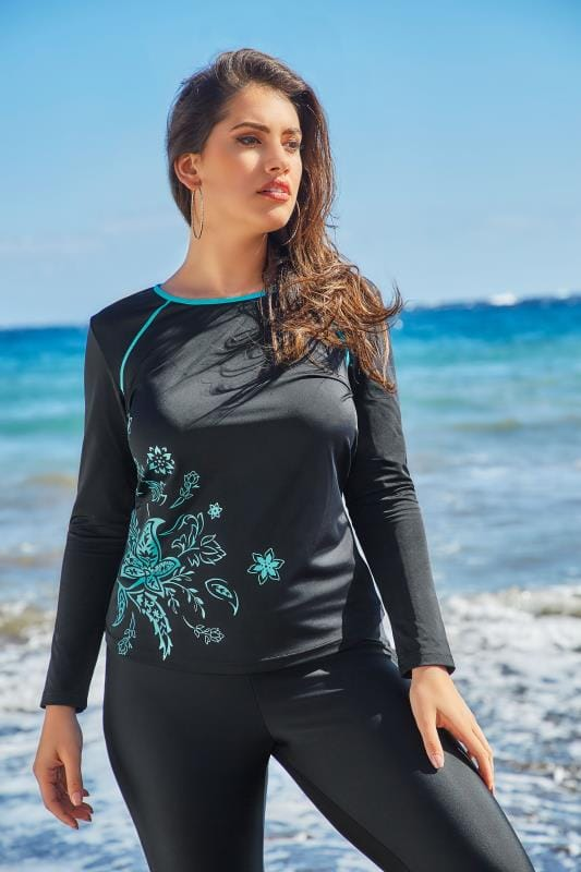 Black & Turquoise Swim Top With Floral Print